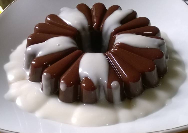 Cara membuat pudding coklat santan