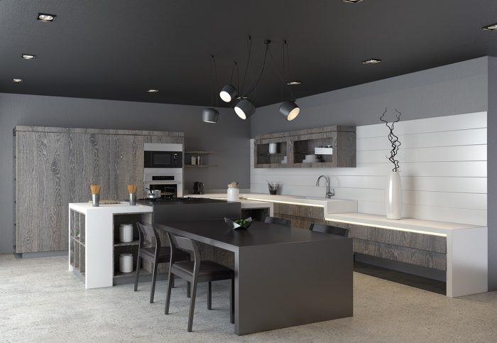 Desain dapur minimalis modern monokrom