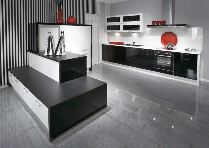 Desain dapur minimalis monokrom bergaris