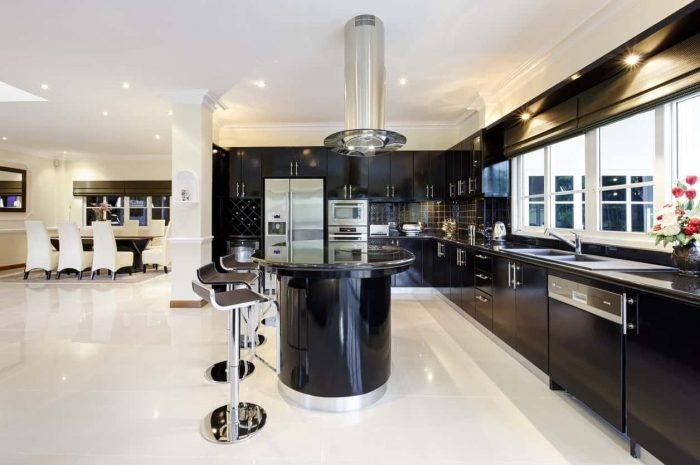 Desain dapur modern mewah midnight glossy