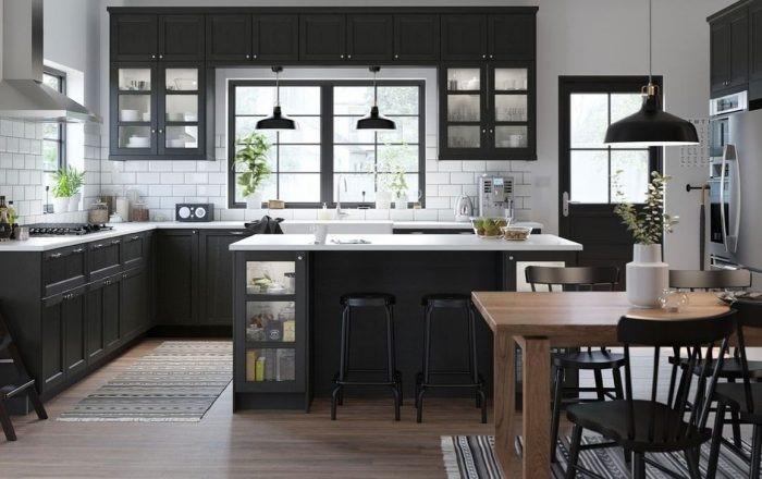 Desain kitchen island monokrom